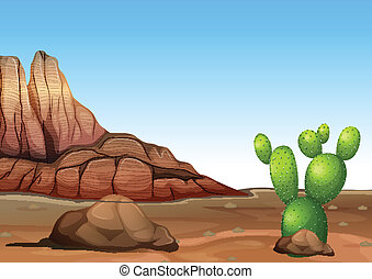 A desert with a cactus - Illustration of a desert with a...