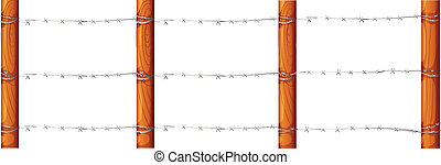 A wooden fence with barbwires - Illustration of a wooden...