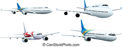 Commerical aircraft - Illustration of a series of commerical...