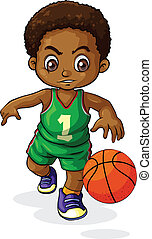 A young Black boy playing basketbal - Illustration of a...