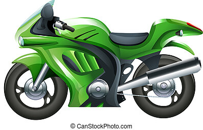 A green motorcycle - Illustration of a green motorcycle on a...