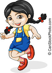 A happy Asian girl dancing - Illustration of a happy Asian...