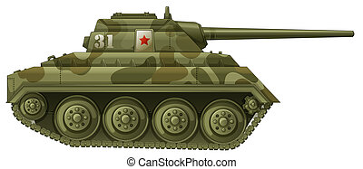 An armoured tank - Illustration of an armoured tank on a...