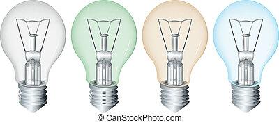 Four flourescent bulbs - Illustration of the four...