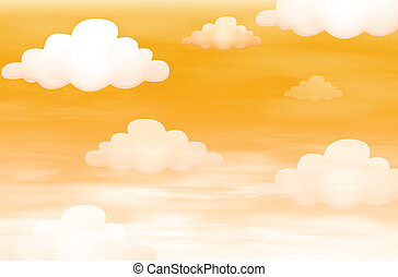 Orange sky with clouds - Illustration of the orange sky with...