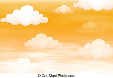 naranja, cielo, nubes