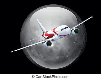 The Moon and Plane - Illustration of the Moon and Plane