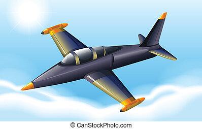 A fighter jet flying - Illustration of a fighter jet flying