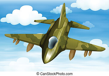 A military fighter jet - Illustration of a military fighter...