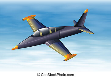 A sky with a fighter jet - Illustration of a sky with a...