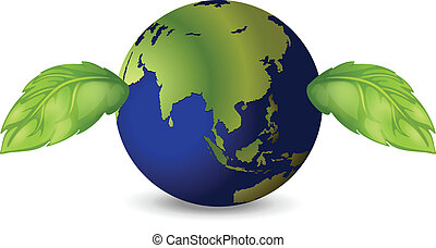 Earth with two green leaves