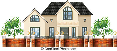 A gated house - Illustration of a gated house on a white...
