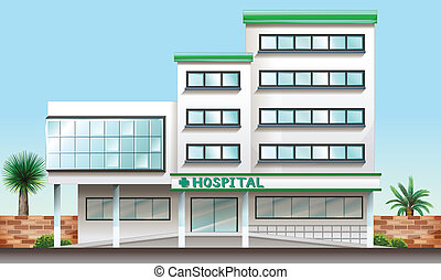A hospital building - Illustration of a hospital building