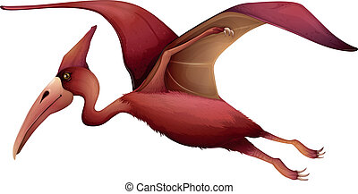 flying pterosaur - Illustration of a flying pterosaur