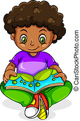 A young Black girl reading - Illustration of a young Black...