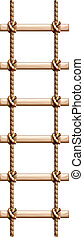 A ladder made of wood and rope - Illustration of a ladder...