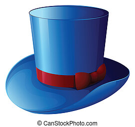 A blue hat with a red ribbon - Illustration of a blue hat...