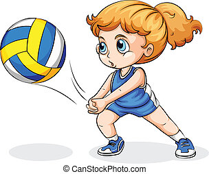 A Caucasian girl playing volleyball - Illustration of a...