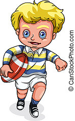 A young Caucasian boy playing rugby football - Illustration...