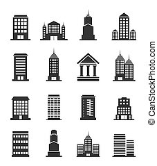 Building office an icon - Set of icons of office buildings A...