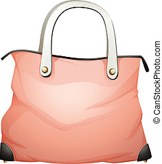 A leather handbag - Illustration of a leather handbag on a...
