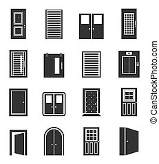 Door an icon - Set of icons of doors. A vector illustration