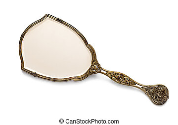 Antique Gilded Hand Mirror over White - Vintage antique...