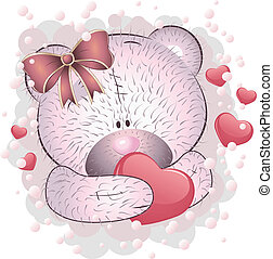 Pink bear with heart