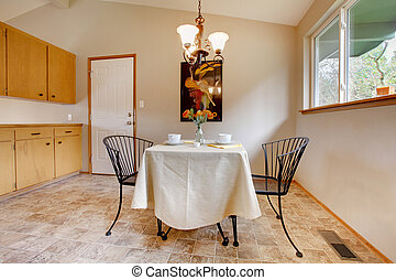 Dining room with metal kitchen table set