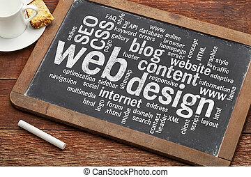 web design word cloud on blackboard - cloud of words or tags...