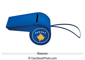 A Beautiful Blue Whistle of Kosovo Flag
