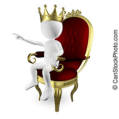 man on the throne - 3d abstract illustration of a man on the...
