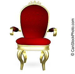 throne - 3d illustration of a red gold throne