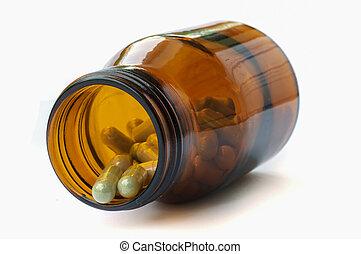 Herbal medicine. - Herbal medicine in medical bottle.