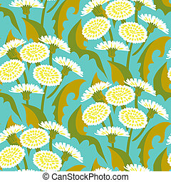 Vector seamless floral pattern with dandelions - Vector...