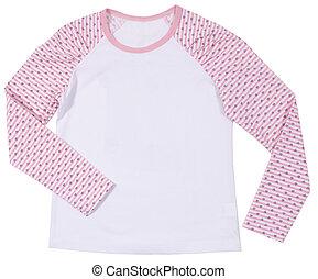 Female child shirt isolated on white