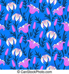 Vector floral pattern with tulips and lilies
