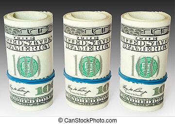 money business concept - business concept. three money rolls...