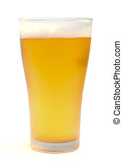 light beer. - Glass of light beer isolated on a white...