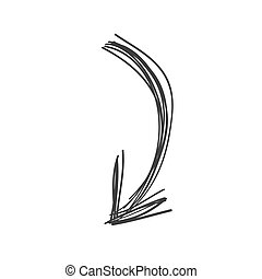 Curved arrow doodle in black