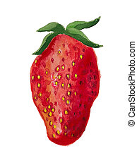 Strawberry - Watercolor image of strawberry isolated on...
