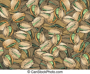 Hand Drawn Pistachios Texture - texture made of hand drawn...