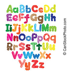 Alphabet kids doodle colored hand drawing in white...
