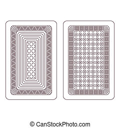 Ornament for playing cards Two variants on a white...