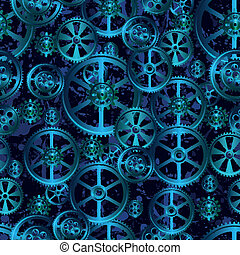 grid seamless - gears on a dark blue background, seamless...