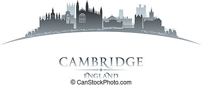 Cambridge England city skyline silhouette white background -...