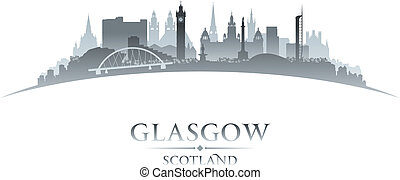 Glasgow Scotland city skyline silhouette white background -...