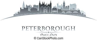 Peterborough, inglaterra, ciudad, contorno, silueta, blanco,...