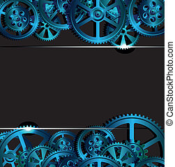 gears on a dark blue background, vector illustration
