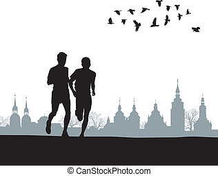Two runners on the horizon